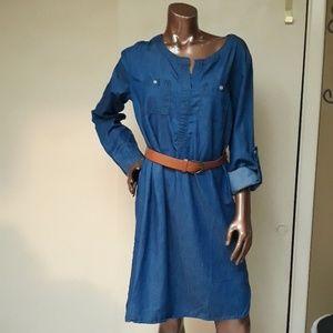Just Be 100% Cotton Denim Blue Jean Shirt Dress
